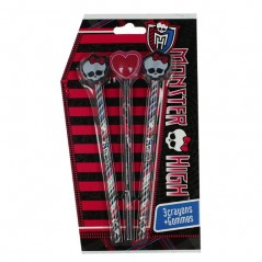 Set of 3 Monster High 3D pencils and erasers