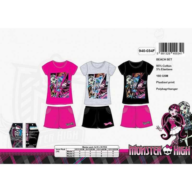 Koszulka Monster High Beach + Krótki zestaw -940-034f