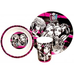 3 piece Monster High Set breakfast from melamine with great designs