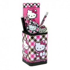HELLO KITTY PENCIL POT + SCHOOL SUPPLIES