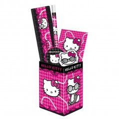 HELLO KITTY POT HAS PENCILS + SCHOOL SUPPLIES