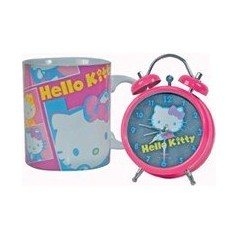 Hello Kitty Hello Kitty 12cm zegar na budzik + 1 Hello Kitty ceramiczny Hello Kitty kubek