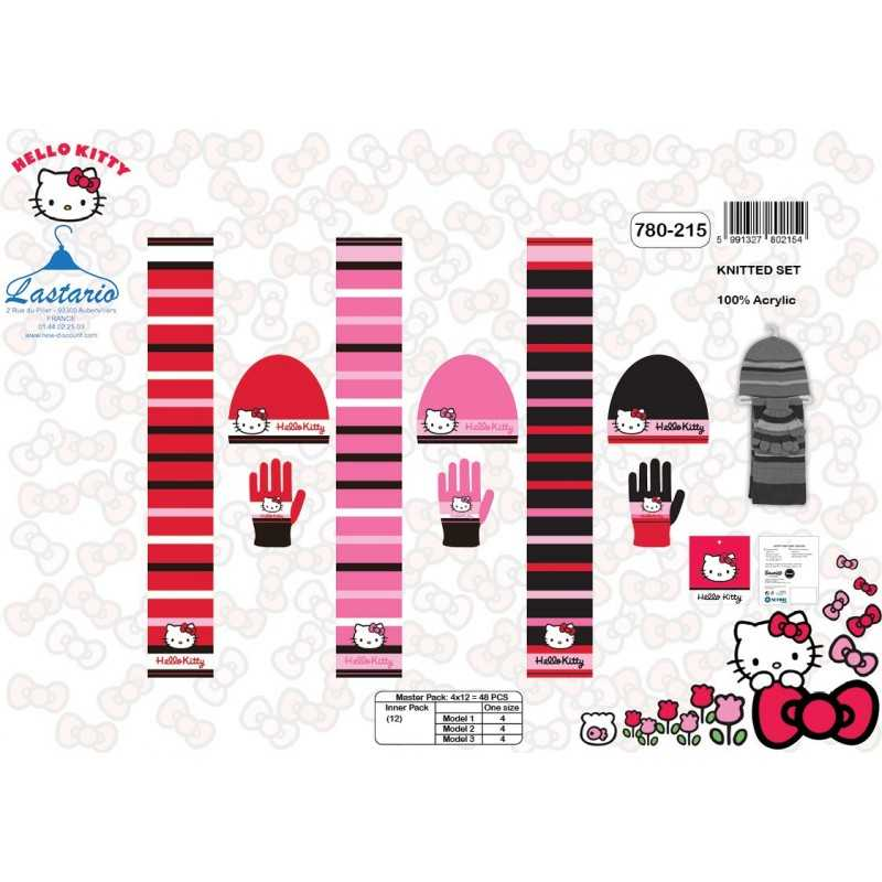 Set 3 pezzi Hello Kitty CAPPELLO + GUANTI + SCIARPE Ciao, Kitty