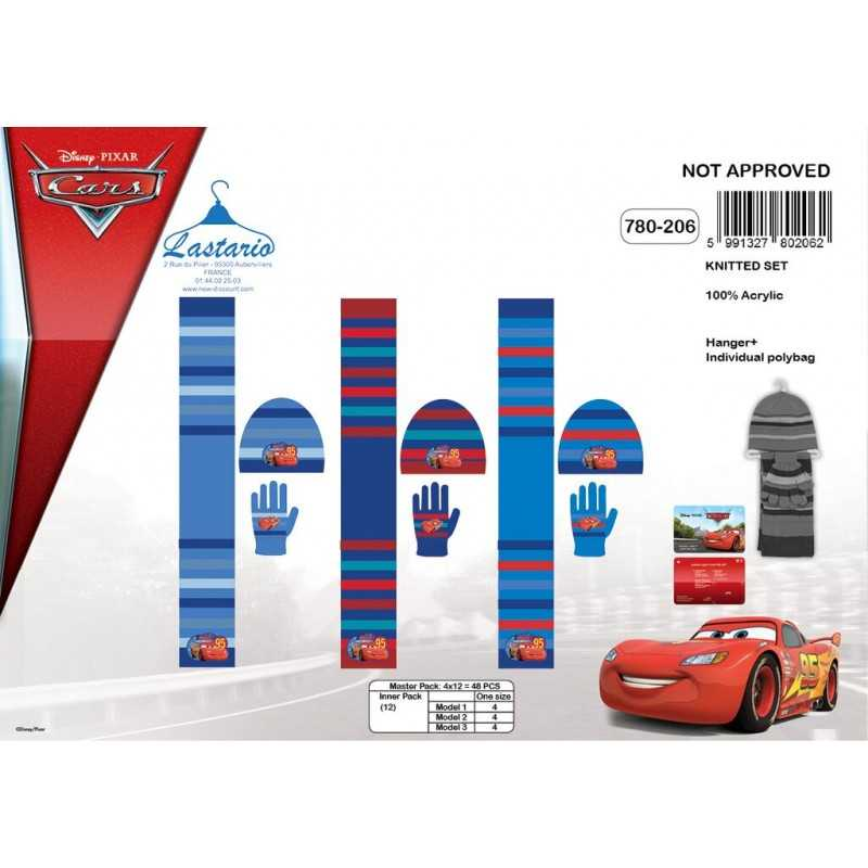 Set 3 Stück Motorhaube + Handschuhe + Schal Cars Disney 780-206