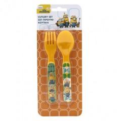 Set 2 cucharas + tenedores Minions