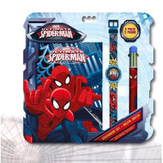Set Spiderman cahier + montre + stylo 6 couleurs
