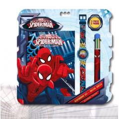 Set Spiderman cahier + montre + stylo 6 couleurs