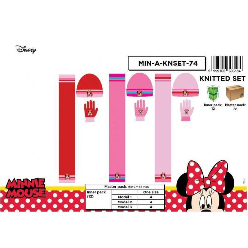 Set 3 pieces Bonnet + scarf + Minnie gloves