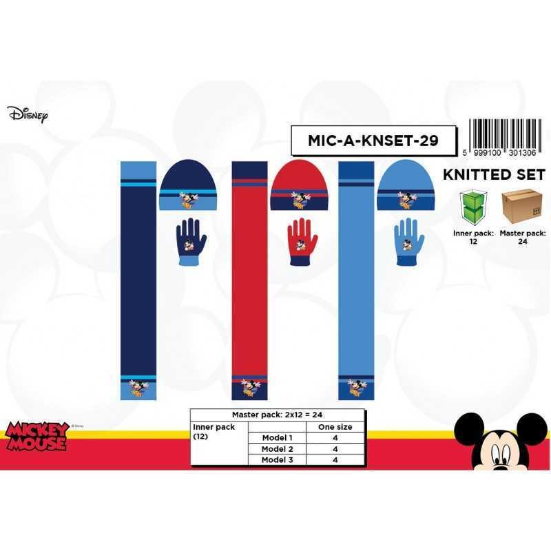 Set 3 pieces Bonnet + scarf + Mickey Disney gloves