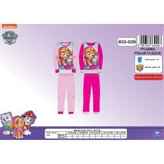 Long fleece pajamas Paw Patrol Girl - 2 to 6 years