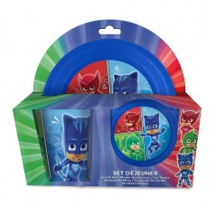 3 Pieces Plastic Lunch Set Pjmasks