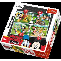 Puzzles Mickey et Minnie Disney - 4 en1 Puzzles
