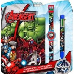 Set Avengers Bloc Note + Uhr + Stift 6 Farben