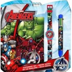 Zestaw Avengers Bloc Note + zegarek + długopis 6 kolorów