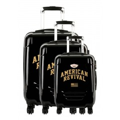 American Revival - Set of 3 Hard Cases ABS & Polycarbonate 4 Wheels