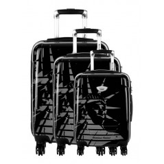 American Revival - Set of 3 Hard Cases ABS & Polycarbonate 4 Wheels - In Black
