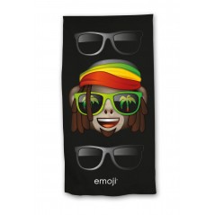 Emoji beach towel or bath towel in black