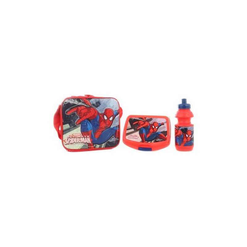 Spiderman cooler bag with lunch box and Spiderman Marvel water bottle