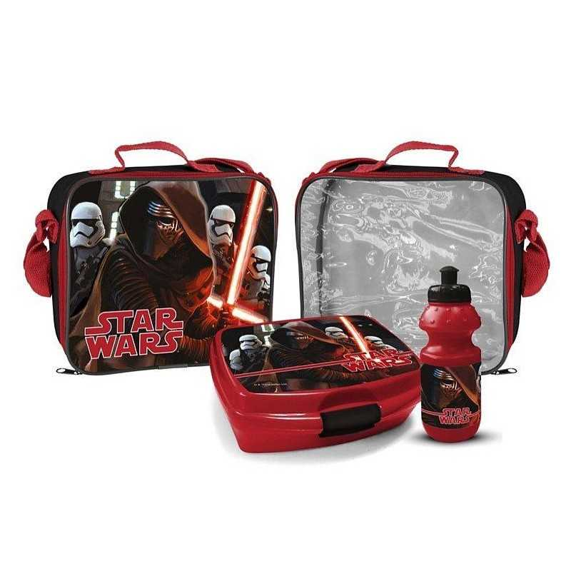Star Wars cooler bag with snack box and Star Wars bottle