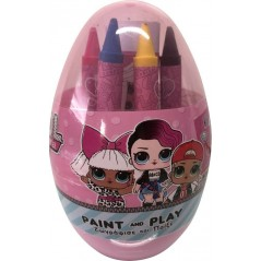 Egg with colored pencil and stickers - Lol Surprise