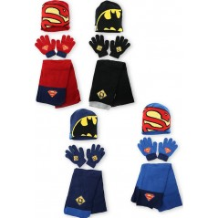 Set 3 pièces Superman + Batman bonnet + gants + echarpe Superman + Batman