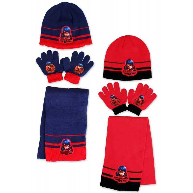 Set 3-piece Cap + scarf + gloves Lady bugs