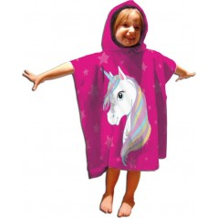 Unicorn cotton hooded bath poncho