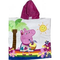 Poncho de bain Peppa Pig à capuche en coton